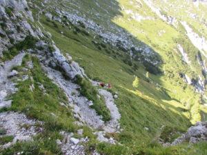 Il ripido sentiero dopo il passo degli scalini
